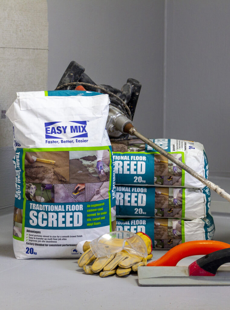 Easy Mix Traditional Floor Screed with tools of the trade